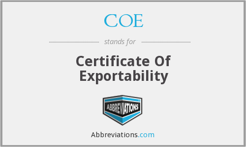 COE - Certificate Of Exportability