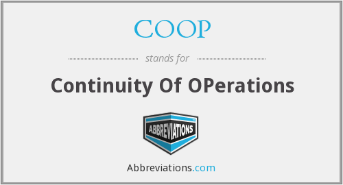COOP - Continuity Of OPerations