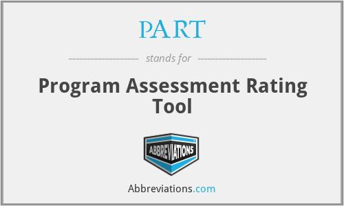 PART - Program Assessment Rating Tool