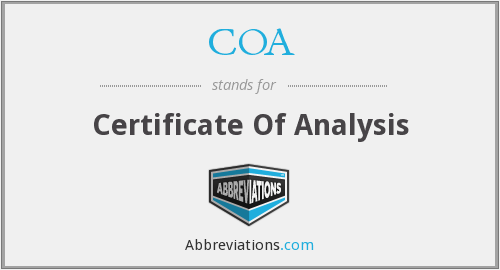 COA - Certificate Of Analysis