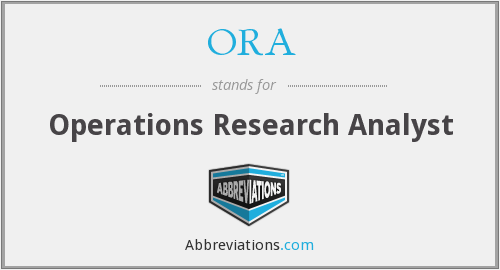 ORA - Operations Research Analyst