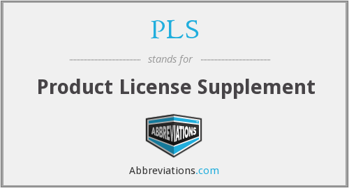 PLS - Product License Supplement