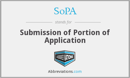 SoPA - Submission of Portion of Application