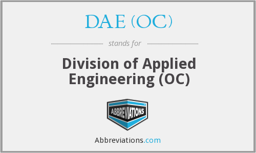 DAE (OC) - Division of Applied Engineering (OC)