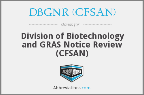 What does DBGNR (CFSAN) stand for?