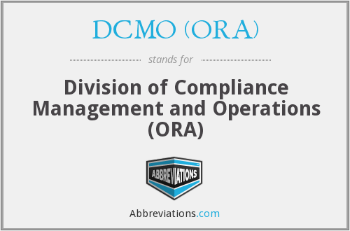 What does DCMO (ORA) stand for?