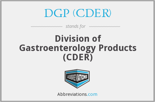 What does DGP (CDER) stand for?