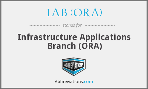 IAB (ORA) - Infrastructure Applications Branch (ORA)
