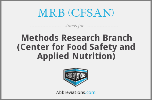 MRB (CFSAN) - Methods Research Branch (Center for Food Safety and Applied Nutrition)
