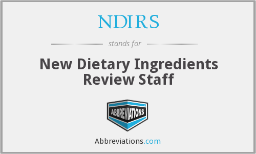 NDIRS - New Dietary Ingredients Review Staff