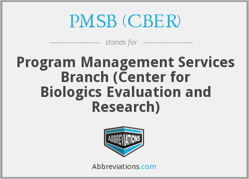 What does PMSB (CBER) stand for?