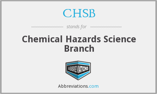 CHSB - Chemical Hazards Science Branch