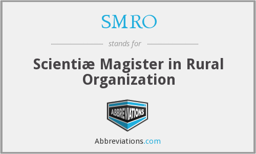 SMRO - Scientiæ Magister in Rural Organization