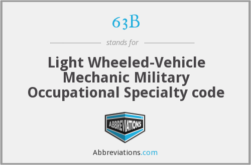 63B - Light Wheeled-Vehicle Mechanic  Military Occupational Specialty code