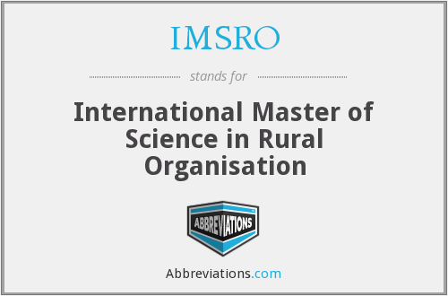 IMSRO - International Master of Science in Rural Organisation