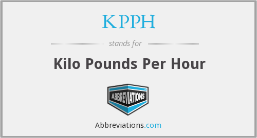 KPPH - Kilo Pounds Per Hour