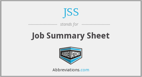 JSS - Job Summary Sheet