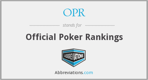 OPR - Official Poker Rankings