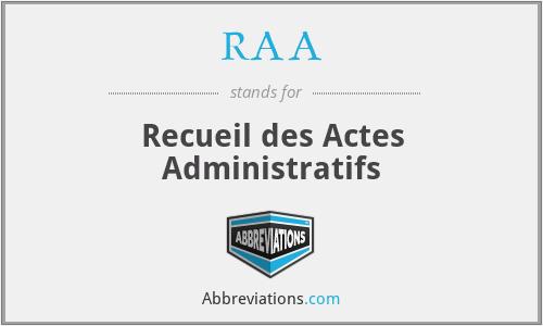 RAA - Recueil des Actes Administratifs