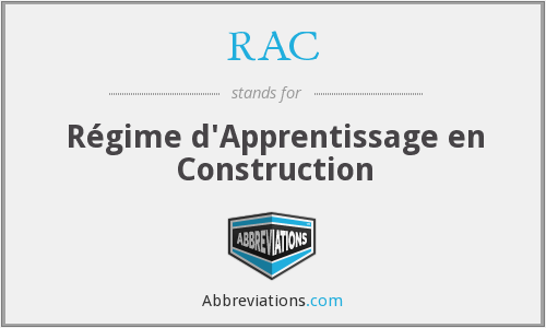 RAC - Régime d'Apprentissage en Construction