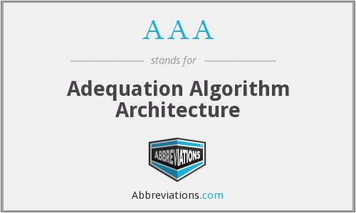 AAA - Adequation Algorithm Architecture
