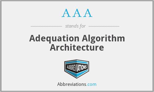 AAA - Adequation Algorithm Architecture