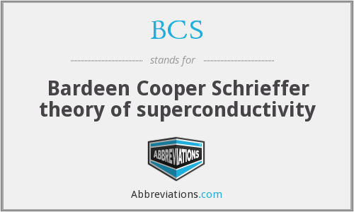 BCS - Bardeen Cooper Schrieffer theory of superconductivity