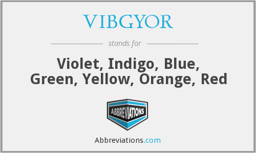 VIBGYOR - Violet, Indigo, Blue, Green, Yellow, Orange, Red