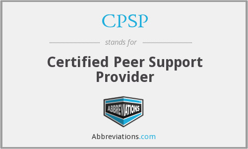 CPSP - Certified Peer Support Provider