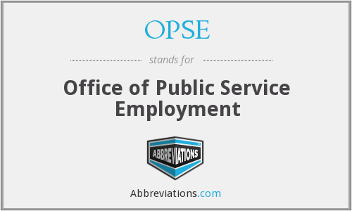 OPSE - Office of Public Service Employment
