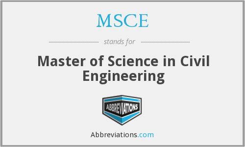 MSCE - Master of Science in Civil Engineering