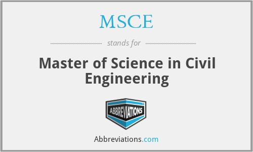 MSCE - Master of Science in Civil Engineering