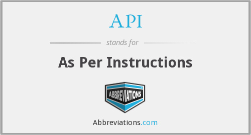 API - As Per Instructions