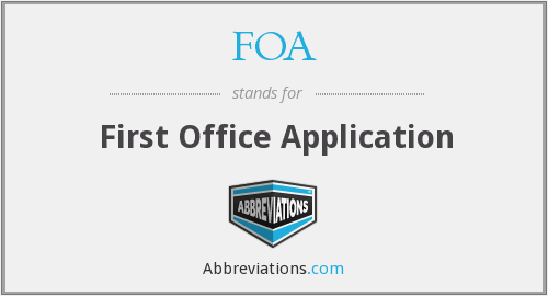 FOA - First Office Application