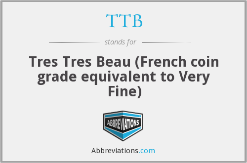 TTB - Tres Tres Beau (French coin grade equivalent to Very Fine)