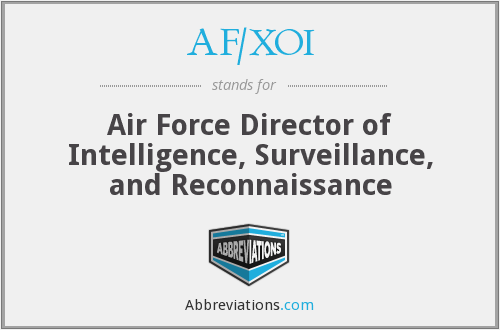 AF/XOI - Air Force Director of Intelligence, Surveillance, and Reconnaissance