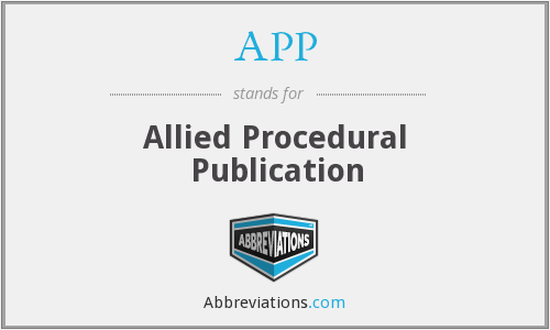 APP - Allied Procedural Publication