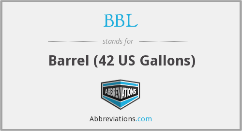 BBL - Barrel (42 US Gallons)