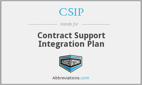 CSIP - Contract Support Integration Plan