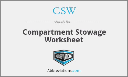 CSW - Compartment Stowage Worksheet