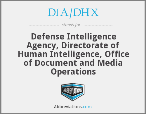 DIA/DHX - Defense Intelligence Agency, Directorate of Human Intelligence, Office of Document and Media Operations