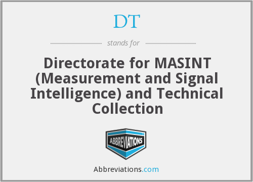 DT - Directorate for MASINT (Measurement and Signal Intelligence) and Technical Collection