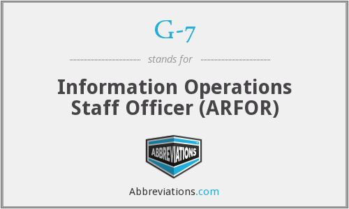 G-7 - Information Operations Staff Officer (ARFOR)