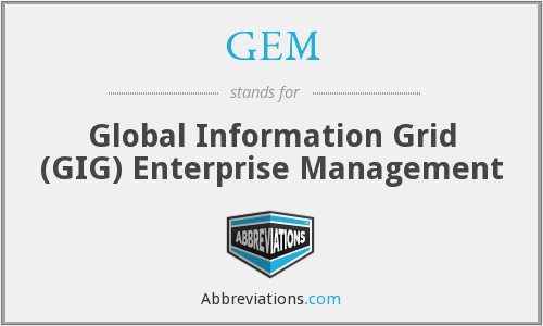 GEM - Global Information Grid (GIG) Enterprise Management