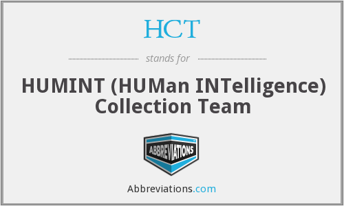 HCT - HUMINT (HUMan INTelligence) Collection Team