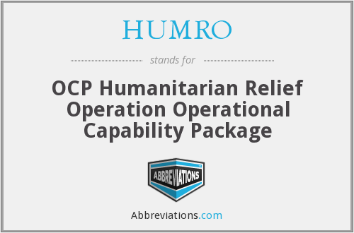 HUMRO - OCP Humanitarian Relief Operation Operational Capability Package