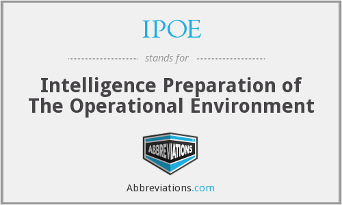 IPOE - Intelligence Preparation of The Operational Environment