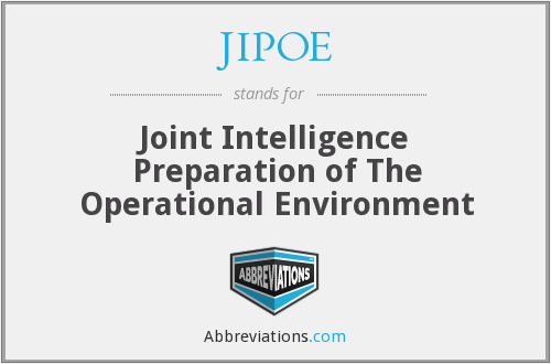 JIPOE - Joint Intelligence Preparation of The Operational Environment