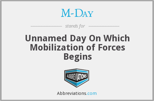 M-Day - Unnamed Day On Which Mobilization of Forces Begins