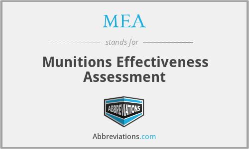 MEA - Munitions Effectiveness Assessment